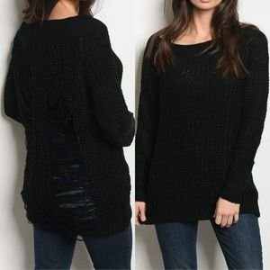 83b8630c898 SLASHED DISTRESSED BACK KNIT SWEATER (BLACK)